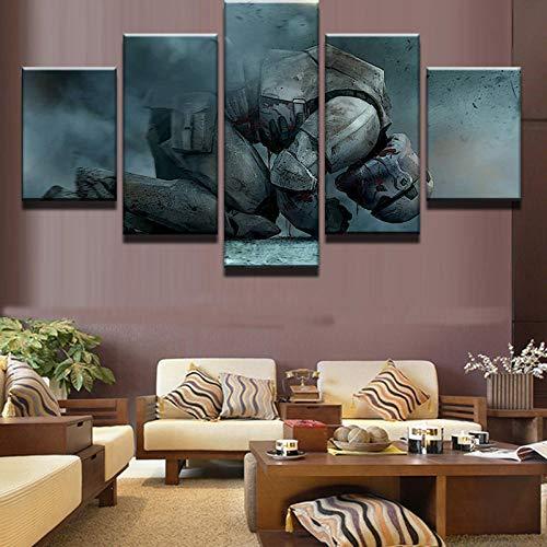 DJxqJ 5 Impresiones de Lienzo Cuadro en Lienzo Pintura Decoración para el hogar Arte de la Pared 5 Panel Arrodillado Soldados Blancos Cartel de Star Wars Habitación Moderna para niños Marco de Foto