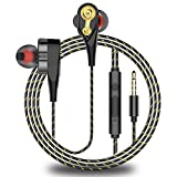 Gilroy Dual Moving Coil Wired in-Ear Earbuds Headphones Headsets Heavy Bass Stereo Earphones with Microphone Compatible with Most Smartphones All 3.5mm Devices Black Single Horn