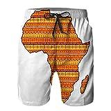 Hombres Verano Secado rápido Pantalones Cortos Playa Mapa de áfrica y Madagascar Lleno de un patrón Brillante en Estilo étnico Africano Trajes de baño Correr Surf Deportes-2XL