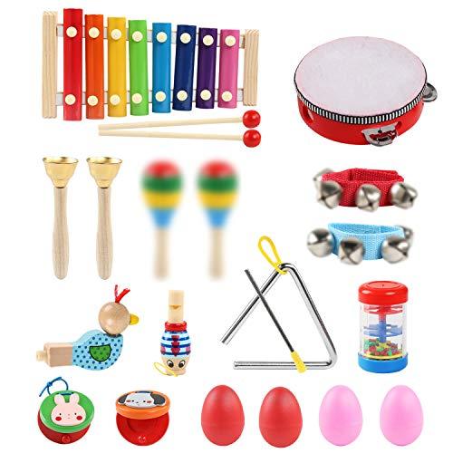 LinStyle Musikinstrumente Kinder, 24 Stück Musik Spielzeug Geschenke für Kleinkinder Holz Percussion Set Schlagzeug Xylophon Instrumente Früherziehung Musik Kinderspielzeug mit Rucksack