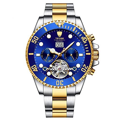 HKX Ver Relojes automáticos, Relojes mecánicos, Relojes automáticos, Relojes mecánicos automáticos de Acero Inoxidable para Hombres, Correas de Cuero (para Hombres y Mujeres), Azul Dorado