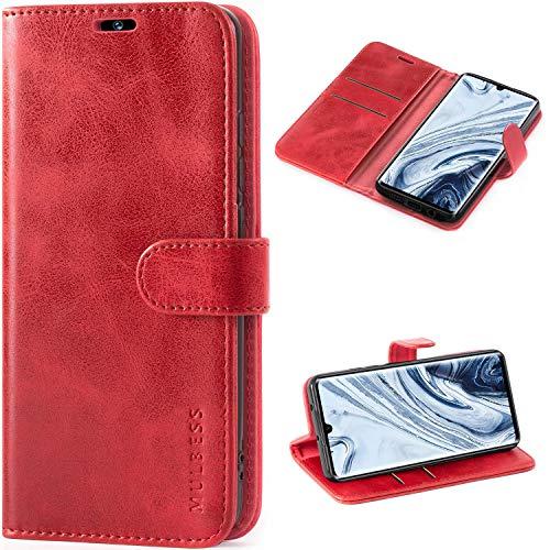 Mulbess Handyhülle für Xiaomi Mi Note 10 Hülle Leder, Xiaomi Mi Note 10 Handy Hüllen, Vintage Flip Handytasche Schutzhülle für Xiaomi Mi Note 10 / Note 10 Pro Hülle, Wein Rot