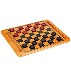 TIMELESS: This solid wood checkers set with nostalgic red and black checkers is a timeless beauty. The solid wood board features recessed grooves for storing the wooden checkers. The hardwood board is a hefty weight and sturdy design to endure many y...