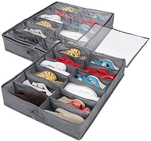 Caja de Almacenamiento de Zapatos, 12 bolsillos Zapatos Organizador de Zapatos de Tela Plegable Para Armario, Organizador de Zapatos con Funda Transparente(2 unidades)