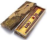 Chopsticks - Palillos de madera reutilizables estilo chino con soporte y bolsa de transporte, set de regalo chino de Zomchain (2 pares)