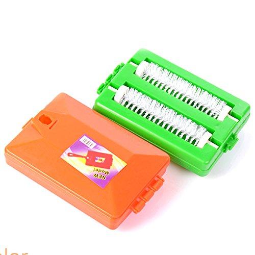 Anyutai Cepillo de plástico con mango de moqueta de mesa barredora de migas cepillo colector rodillo color aleatorio