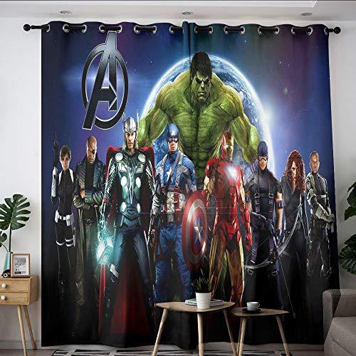 Elliot Dorothy Superhero Vengadores Iron Man Capitán América Cortinas personalizadas Chid Cortinas impermeables para dormitorio, sala de estar cocina W63 x L72