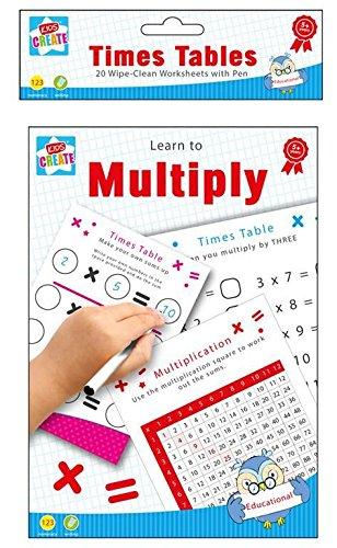 The Home Fusion Company Coup D'Éponge Pédagogique Marrant Apprentissage Livres Écriture Orthographe Mathématique Numéro Times Table Enfants - Multiply