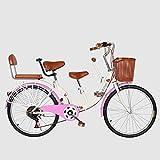 Padre-Hijo Bicicletas, (22/24 Pulgadas) De Acero Al Carbono De Alta Puede Tomar Asiento Doble Del Bebé Señoras De La Mamá De La A Un Bebé De La Madre Y Del Niño Velocidad De Bicicletas,Rosado,24inch