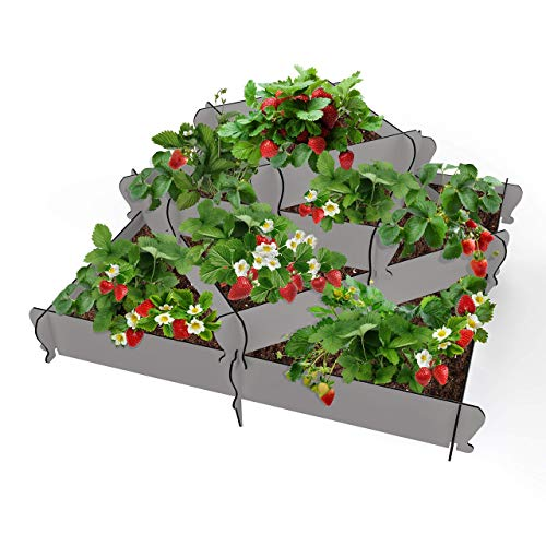 Palram KIMY Pyramid Raised Garden Bed Planter: 4-Piece Gray Raised Terrace Plant Holder, Alternating or Corner Stacked Designs, 13 by 17 by 19 by 23 by 32 Inches