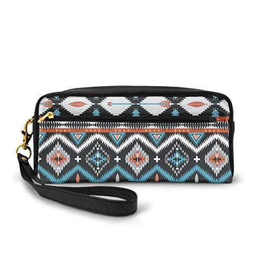 Federmäppchen Indianer nahtlos Tribal Muster mit geometrischen Elementen Stifttasche Make-up-Tasche Geldbörse große Kapazität tragbare Make-up-Taschen Make-up-Organizer für Studenten oder Frauen