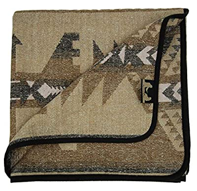 Ruth&Boaz Outdoor Wool Blend Blanket Ethnic Inka Pattern(N) (Beige-B, Large)