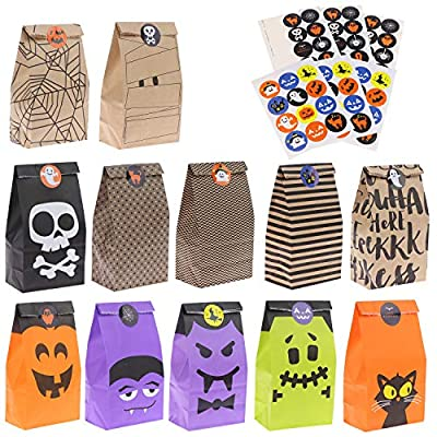 VAIPI 60 Pieces Trick or Treat Bags (12 Styles) with 66 Pieces Halloween Candy Stickers, Halloween Paper Gift Candy Bags Party Favor for Kids