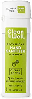 CleanWell Botanical Hand Sanitizer Spray, Citrus Thyme, 1 fl oz (1 PK) – Travel Size, Alcohol Free, Antibacterial, Kid Friendly, Plant-Based, Nontoxic, Cruelty Free, Moisturizing (Packaging May Vary)