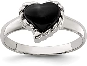925 Sterling Silver Black Onyx Heart Band Ring S/love Stone Fine Jewelry Gifts For Women For Her