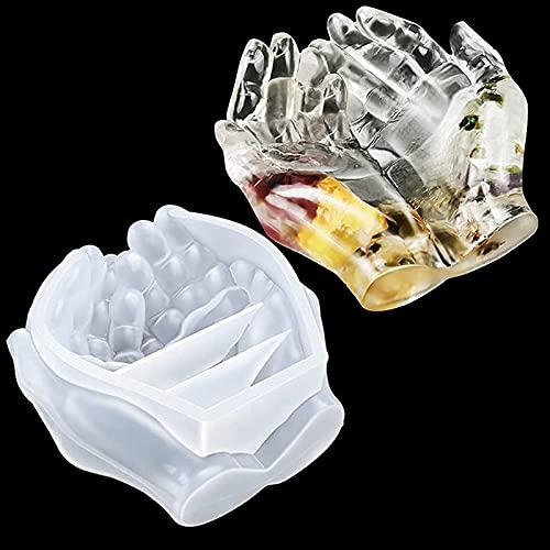 Epoda Silikonform Epoxidharz, 3D Doppel Hände Epoxidharz Formen Resin Gießharz Silikon Mold für Kerzenhalter