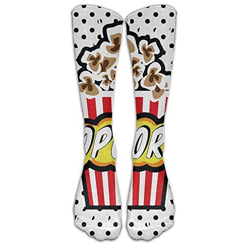 hfdff Cartoon Delicious Popcorn Athletic Tube Strümpfe Frauen Männer Klassiker Kniestrümpfe Sport Lange Socke 19,68 Zoll (50 cm)