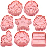 Set di 8 stampi per biscotti a forma di fossili di Super Mario, in PVC, con 8 stampi per biscotti e 8 stampi taglia-biscotti accessori per pasticceria