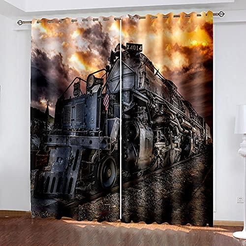 WAFJJ Art CortinaNegro y Tren Cortina y Cenefa, Tapiz de Dormitorio, Cortina India para balcón, decoración de habitación Tamaño: 280x245cm(An x Al)