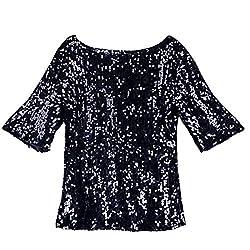 Black Sequin Cocktail Glitter Plus Size T-Shirt