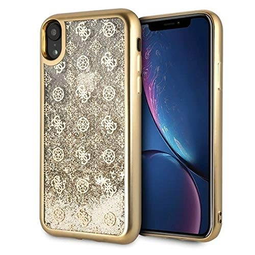 Guess Peony Funda para iPhone XR Protector con Glitter Liquido Dorado Resistente a Impactos