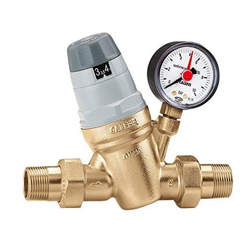 Caleffi Wasserdruckminderer 3/4 Zoll DN20 Druckminderer für Wasser mit Austauschbarer Kartusche und Manometer, Druckminderungsventil, Druckregler 535051