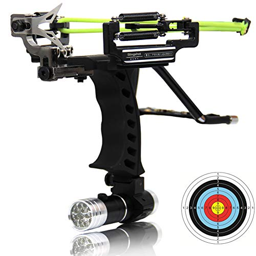 COOY Slingshot - Professional Outdoor Catapult Stainless Steel Launcher Double Spring Wrist high Speed Rocket Hunting Slingshot Adult, with 2 Rubber Bands, Outdoor Catapult Set