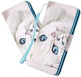 LEMAXELERS Custodia Samsung Galaxy S8 Cover Portafoglio,Galaxy S8 Custodia Pittura Colorata Wallet Shock-Absorption Magnetica Supporto Protettiva Bumper Leather Flip Cover,HX Blue Eyes Cat