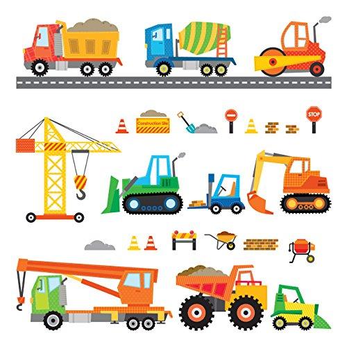 DECOWALL DS-8012 Bau Baustelle Transporte Autos Fahrzeuge Wandtattoo Wandsticker Wandaufkleber Wanddeko für Wohnzimmer Schlafzimmer Kinderzimmer (Klein)