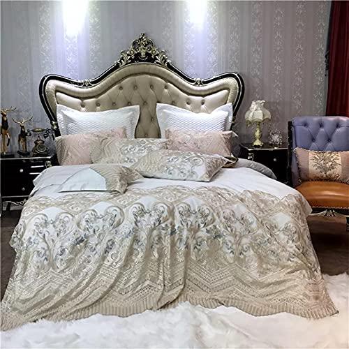Yinyue Juego de Cama de Tres Piezas Juego de Cama de Fundas de Almohada con Bordado de Encaje romántico de algodón de Estilo Princesa de Lujo Sin sábanas, sin Regalos