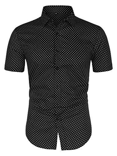 uxcell Men's Printed Cotton Dress Short Sleeves Polka Dots Button Down Shirt Black 42