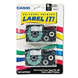 Casio 9mm Labelling Tape, Black on Clear, Double Pack (XR-9X2S). Clear Labels with Black Print Makes Text Easy to Read.