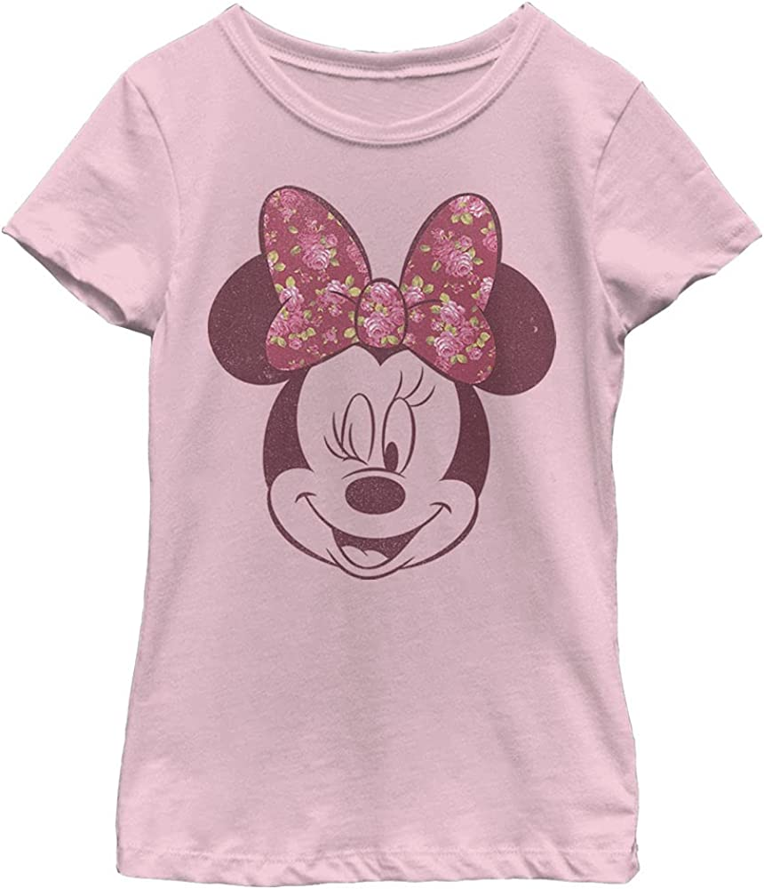 Disney Characters Love Rose Girl's Solid Crew Tee