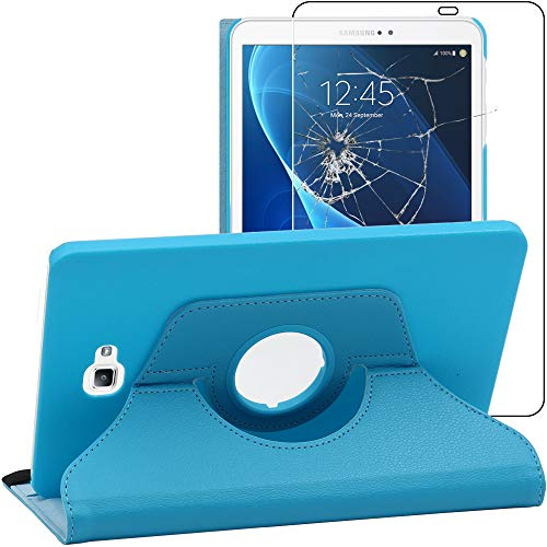 ebestStar - Funda Compatible con Samsung Galaxy Tab A6 A 10.1 (2018, 2016) T580 T585 Carcasa Cuero PU, Giratoria 360 Grados, Función Soporte, Azul +Cristal Templado [Aparato: 254.2x155.3x8.2mm 10.1']