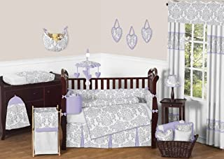 Sweet Jojo Designs 9-Piece Lavender, Gray and White Elizabeth Damask Print Baby Bedding Collection Girl Crib Set