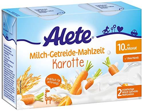Alete Milch-Getreide-Mahlzeit Karotte, praktisch für zuhause & unterwegs, mit viel Calcium, Vitamin C & Zink, ohne Palmöl, ab dem 10. Monat, 400 ml