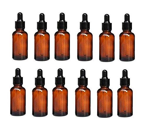 Bottiglia contenitore per campioncini, per cosmetici, con tappo nero e contagocce, in vetro ambrato, per oli essenziali e aromaterapia, da 5ml / 10 ml (confezione da 12), 10ML, 1