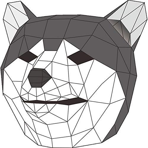 RCFRGV Halloween Maske Tier Maske/Urlaub Schmuck Erwachsene Cosplay/Halloween Unisex grau/gelb Karte Papier Cosplay Zubehör Karneval