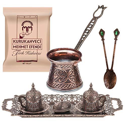 Copper Design Turkish Greek Arab Coffee Espresso Set for Serving - Porcelain Cups With Large Tray Saucers Pot Sugar Bowl - Vintage Silver Engraved Embroidered Design - Ottoman Arabic Gift Set