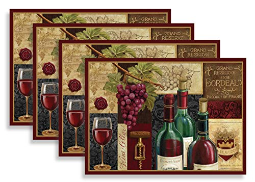 Blissful Living Set of 4 Placemats, Stain Resistant - Decorate Your Kitchen Table with Our Beautiful Rectangle pad placemat (Red Wine Patchwork)