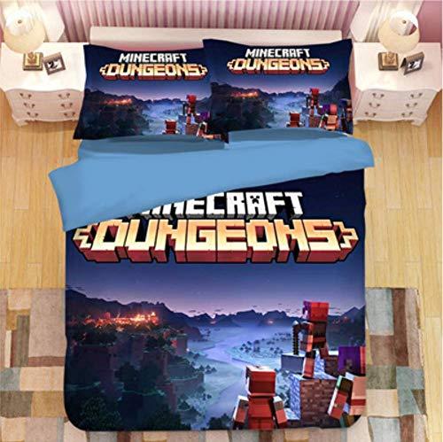 Simproude Juego de Funda de Edredón 240 x 260 cm Minecraft Juego de Ropa de Cama 3 Piezas Incluida 1 Transpirable Altamente Ventilado Funda de Nórdica y 2 Fundas de Almohada