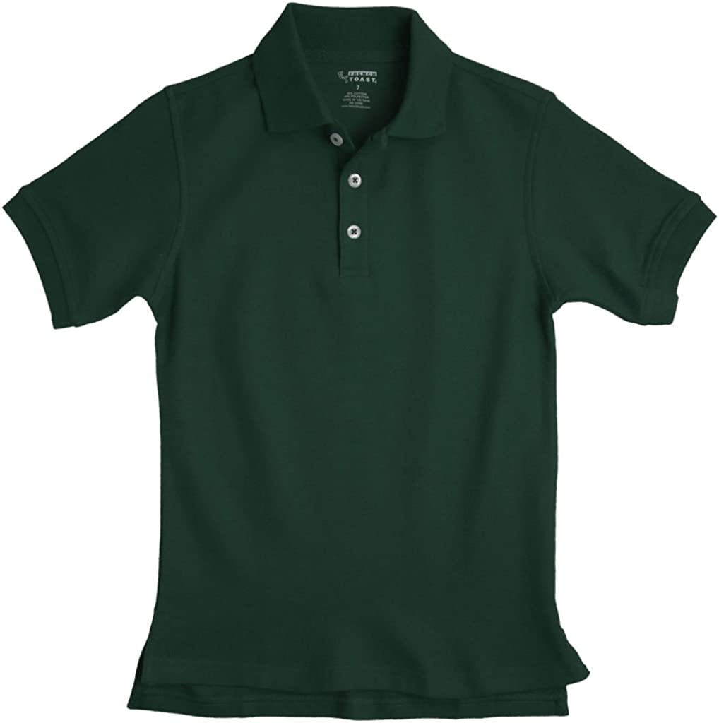 French Toast Boys Short Sleeve Pique Polo Hunter Green 2T