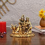 Collectible India Handcrafted Shiva Parvati Ganesh Idol Shiv Parivar Murti Statue Sculpture - Hindu Lord Shiva Idols Family Sitting On Nandi Showpiece Figurine For Home Office Temple Mandir Decoration