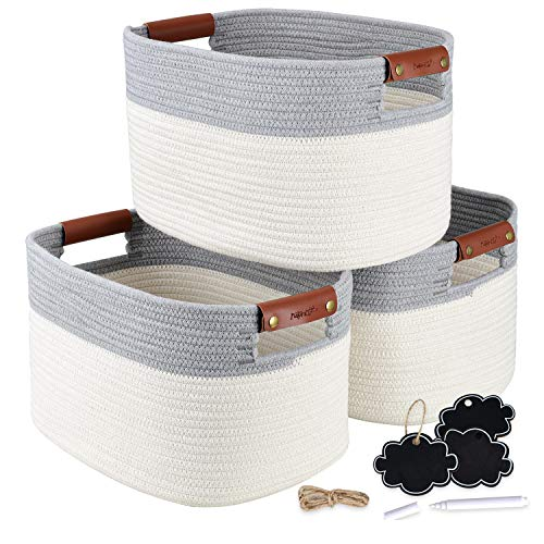 NaturaClo Cotton Rope Storage Basket Set of 3 | Decorative Woven Basket W/Leather Basket Handles & Chalk Tags |Woven Baskets for Storage and Toy Organizer | 15 x 10 x 9