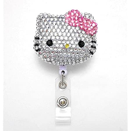 LOVEKITTY 3D Hello Cutie Blinged Out Pink Bow Kitty Inspired Rhinestone Badge Reel//Name Badges//ID Badge Holder