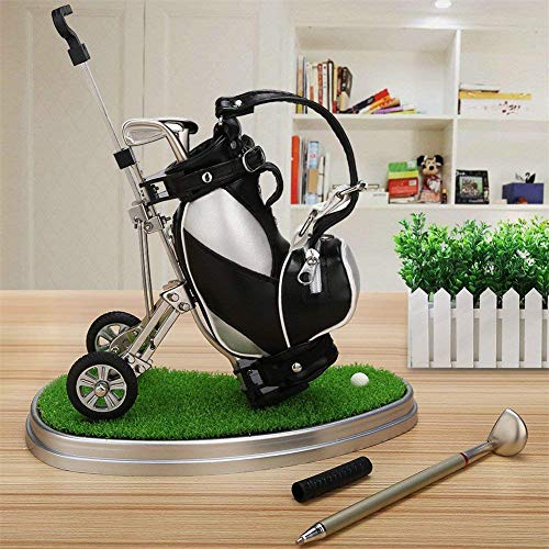 Golf Pens with Golf Bag Pen Holder and Base, Business Gifts Office Desktop Golf Pen Stand Miniature Model Decoration, Unique Gifts for Golfer Golf Club Fans Souvenir Women Men - Black