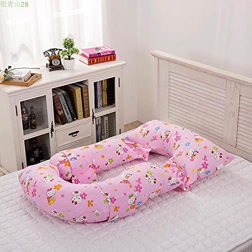 Avalita Almohada de Maternidad Soporte para la Cintura Almohada para Dormir Lateral Soporte para el Vientre Multifuncional extraíble y Lavable algodón en Forma de U Plaid-Cat Baby_Conventional