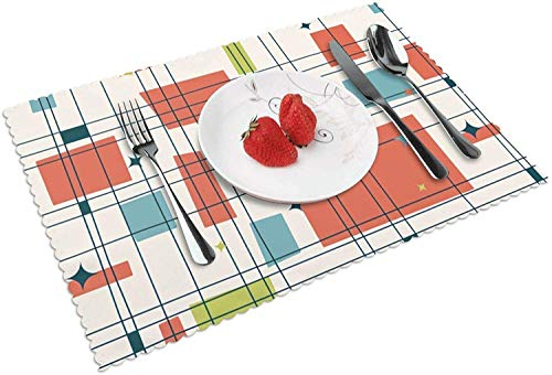 Abstract Mid Century Modern Grid Placemats, Cafe Placemats Dining Placemats Placemats for Home Kitchen Decorations 18 x 12 Inches
