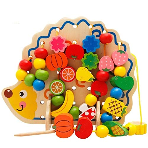 Pelze Early Learning Bildung Holzspielzeug Igel Fruchtperlen Kind Hand-Augen-Koordination Skills Development Lernspielzeug for Kinder QiuGe