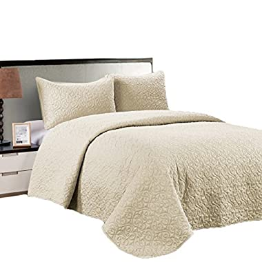 Jackson Hole Home PREWASHED 3 PC Solid Color Soft Pattern Coverlet Quilt Set, Ivory, Queen